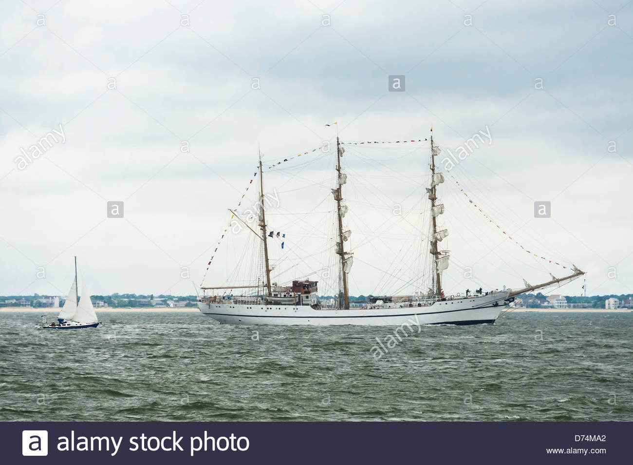 257 ft, Ecuadorian barque, GUAYAS, leaving Hampton Roads Harbor at conclusion of OpSail 2012 in Norfolk on June - Stock Image