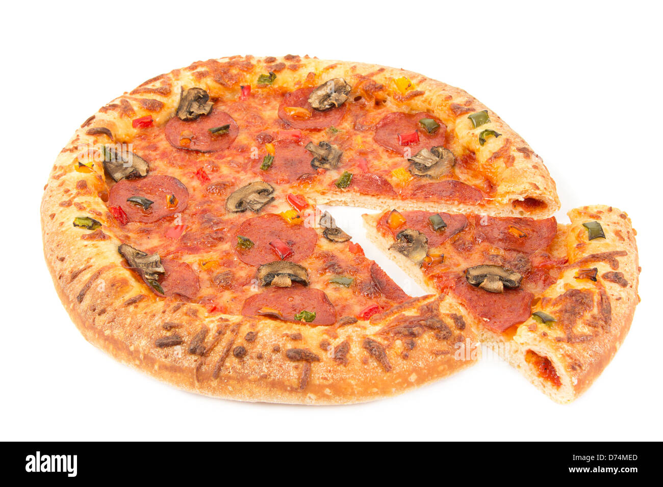 Whole pepperoni pizza top view with a slice cut - Stock Image