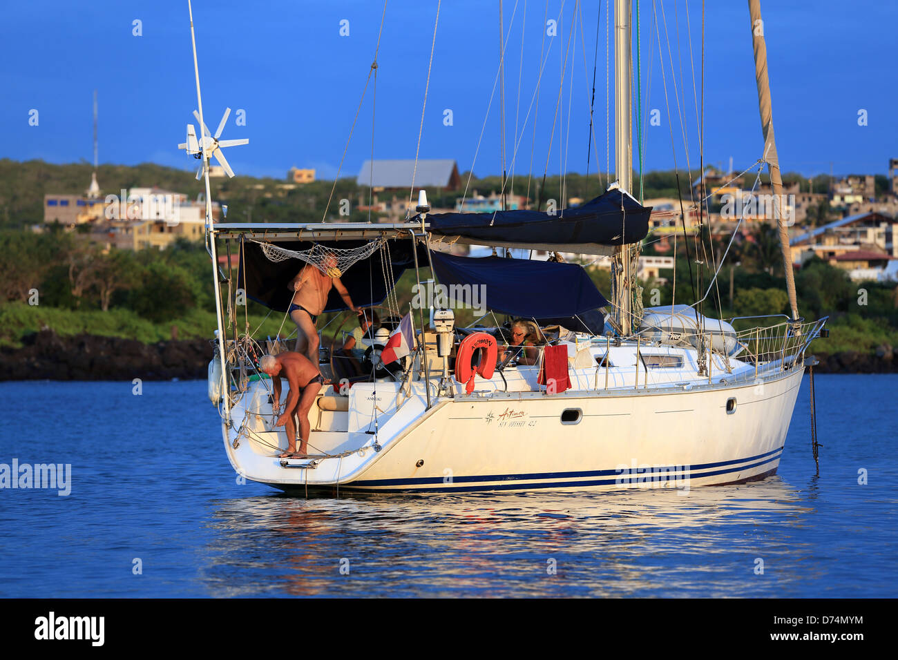 Private yacht moored in Puerto Baquerizo Moreno, Galapagos Islands - Stock Image