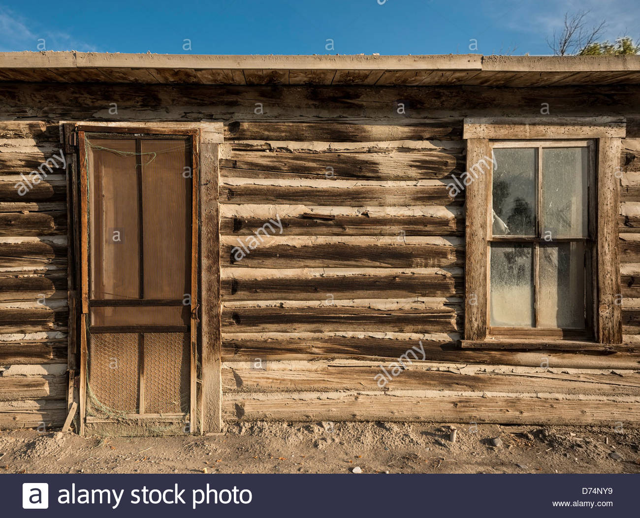 USA Wyoming Byron Door and window detail from old log cabin & USA Wyoming Byron Door and window detail from old log cabin Stock ...