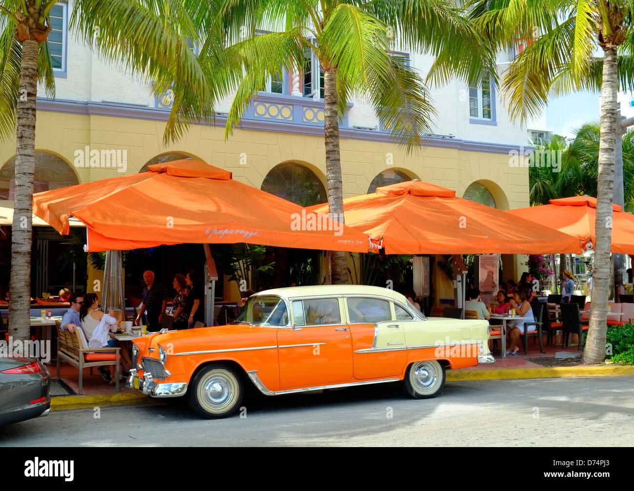 Art Deco district, ocean drive, Miami, Florida - Stock Image