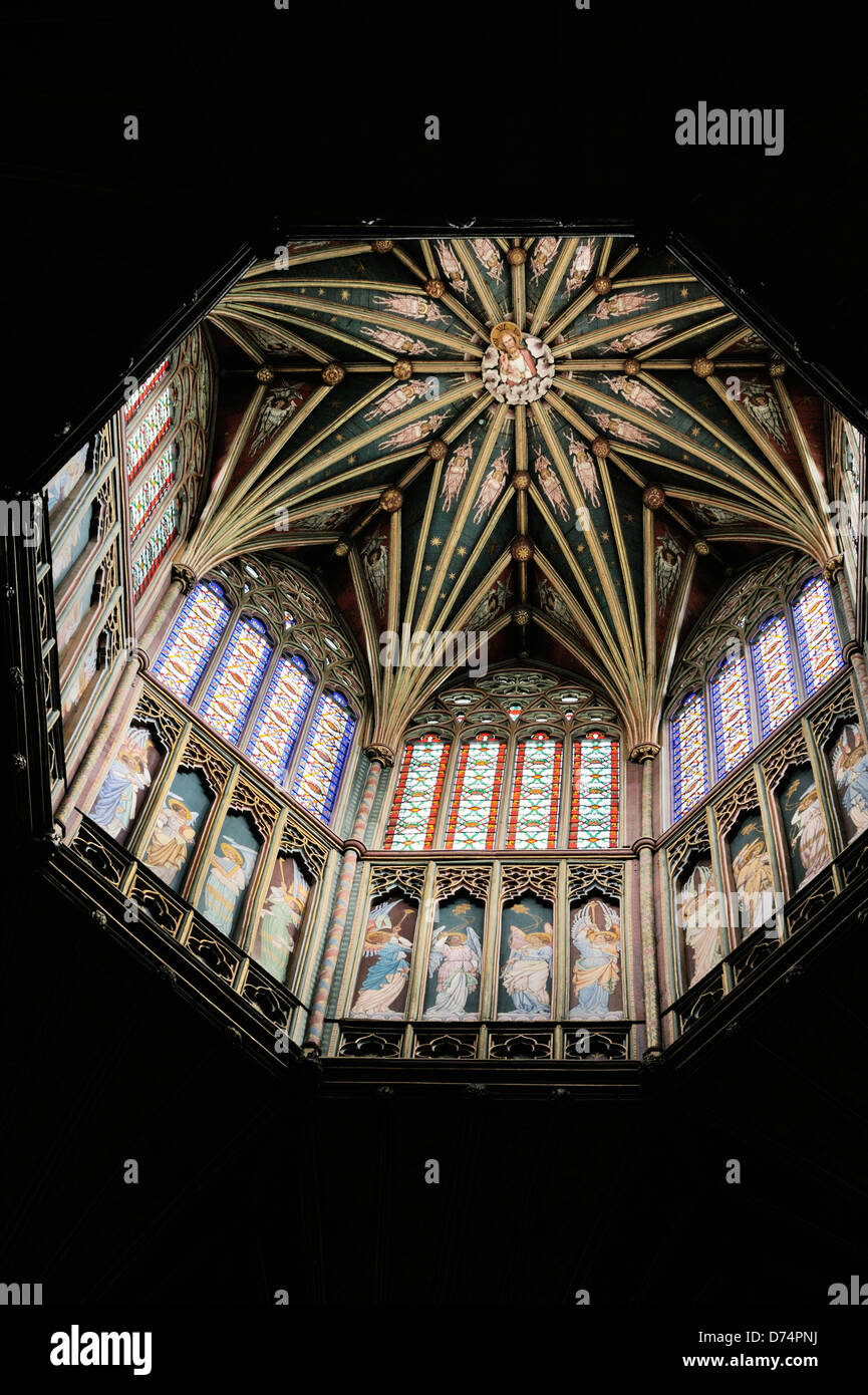 Ely Cathedral, Cambridgeshire, England. The wooden lantern on top of the Octagon - Stock Image