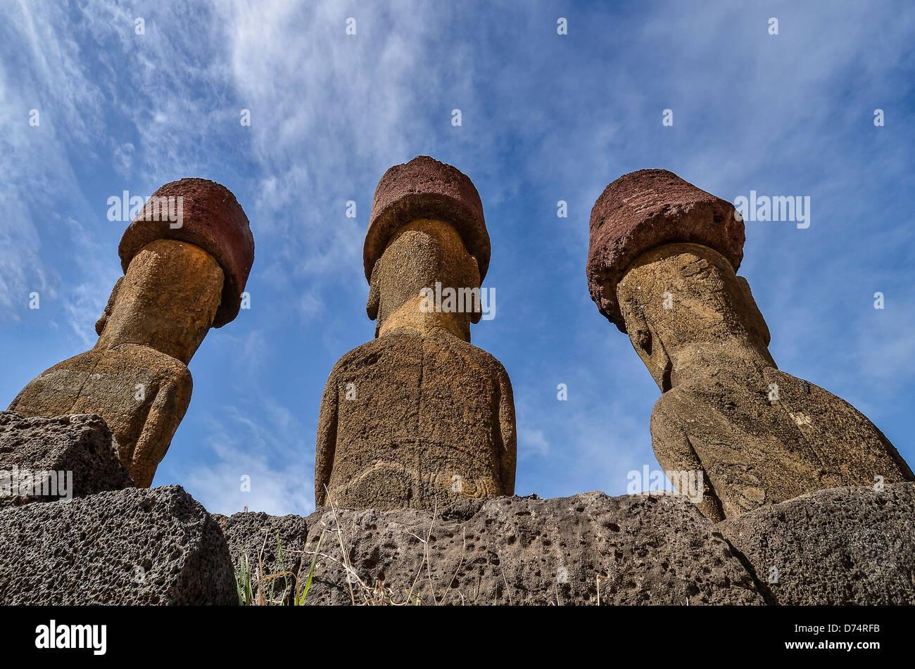 Behind Ahu Nau Nau at Anakena Beach, Easter Island - Stock Image