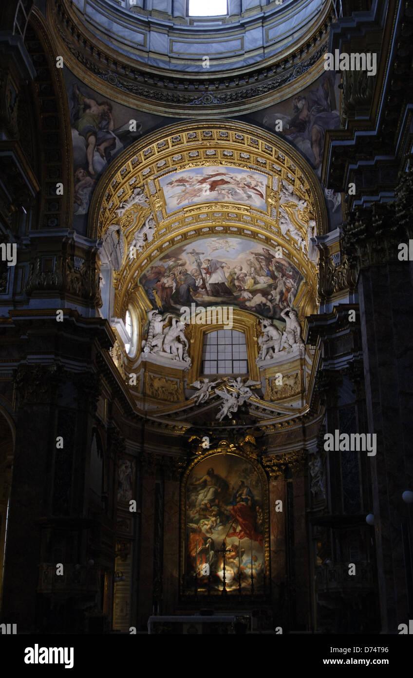 Italy. Rome. Basilica of San Carlo al Corso. Apse niche woth fresco and altarpiece. Stock Photo