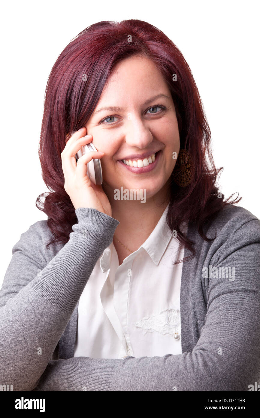 smiling woman hold modern smartphone - Stock Image