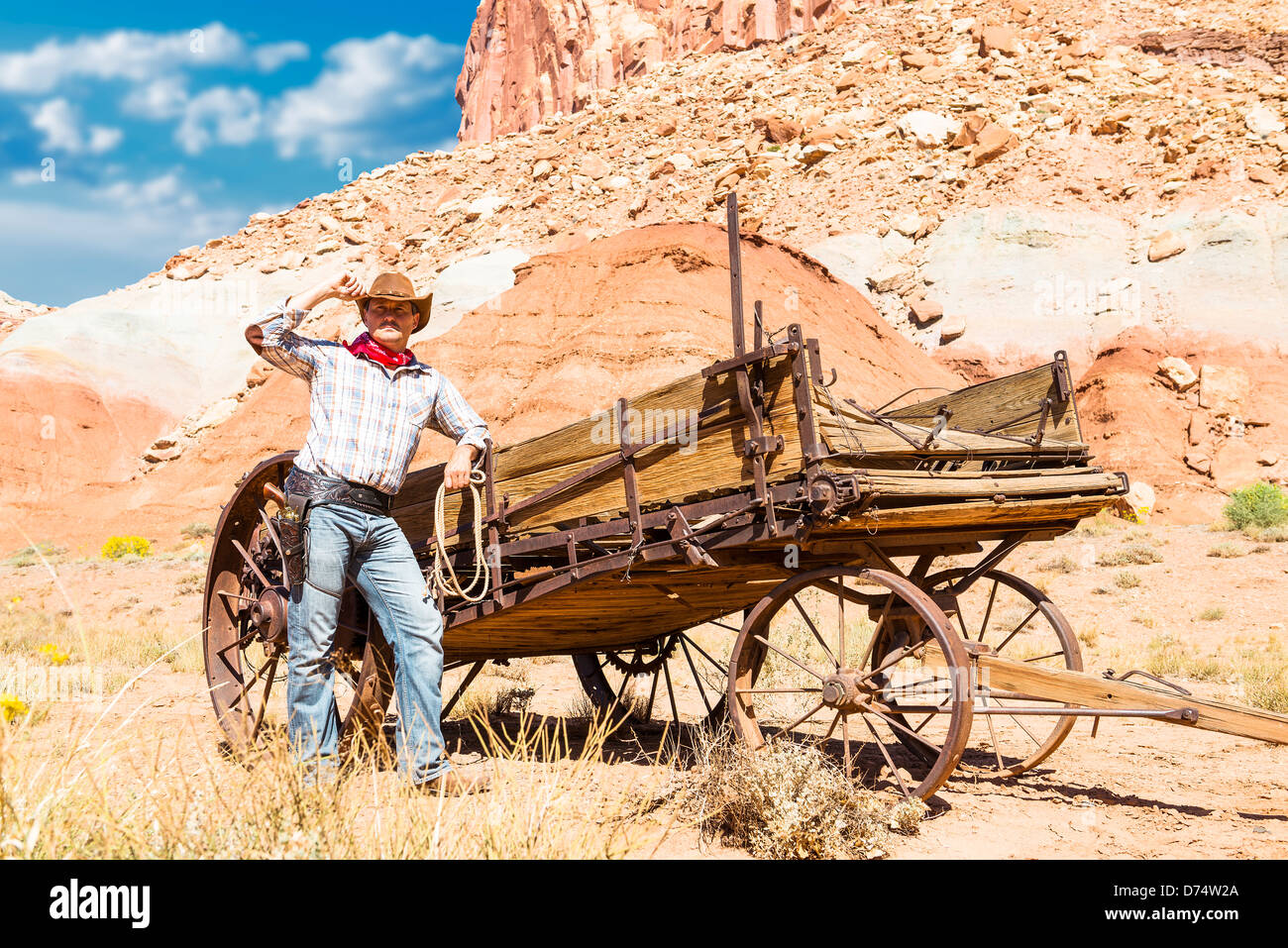 SOUTh WEST - A cowboy takes time to rest and reflect. - Stock Image