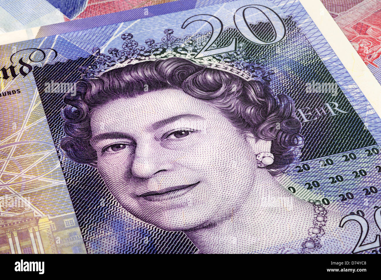 £20 pound note close up of the Queen's face - Stock Image