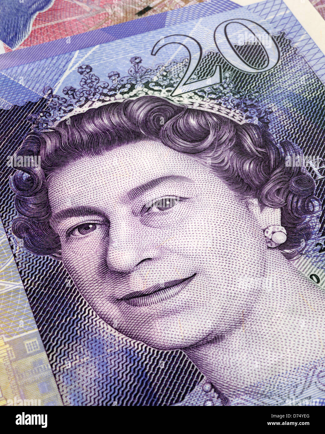 Queen on a £20 pound note close up - Stock Image