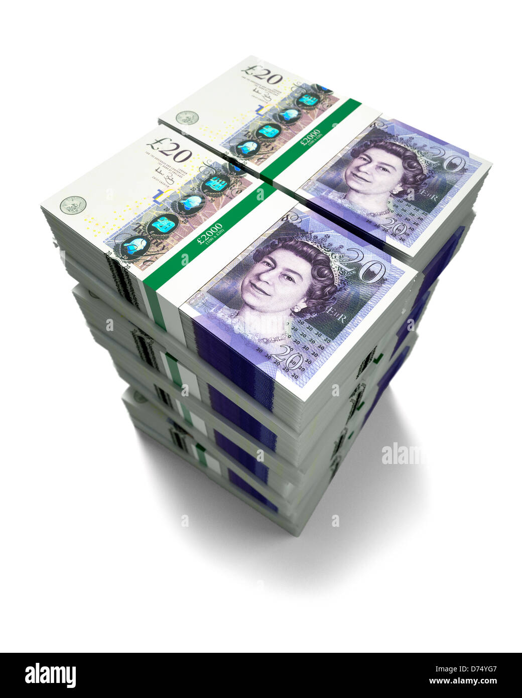 £20 pound notes on white background Stock Photo