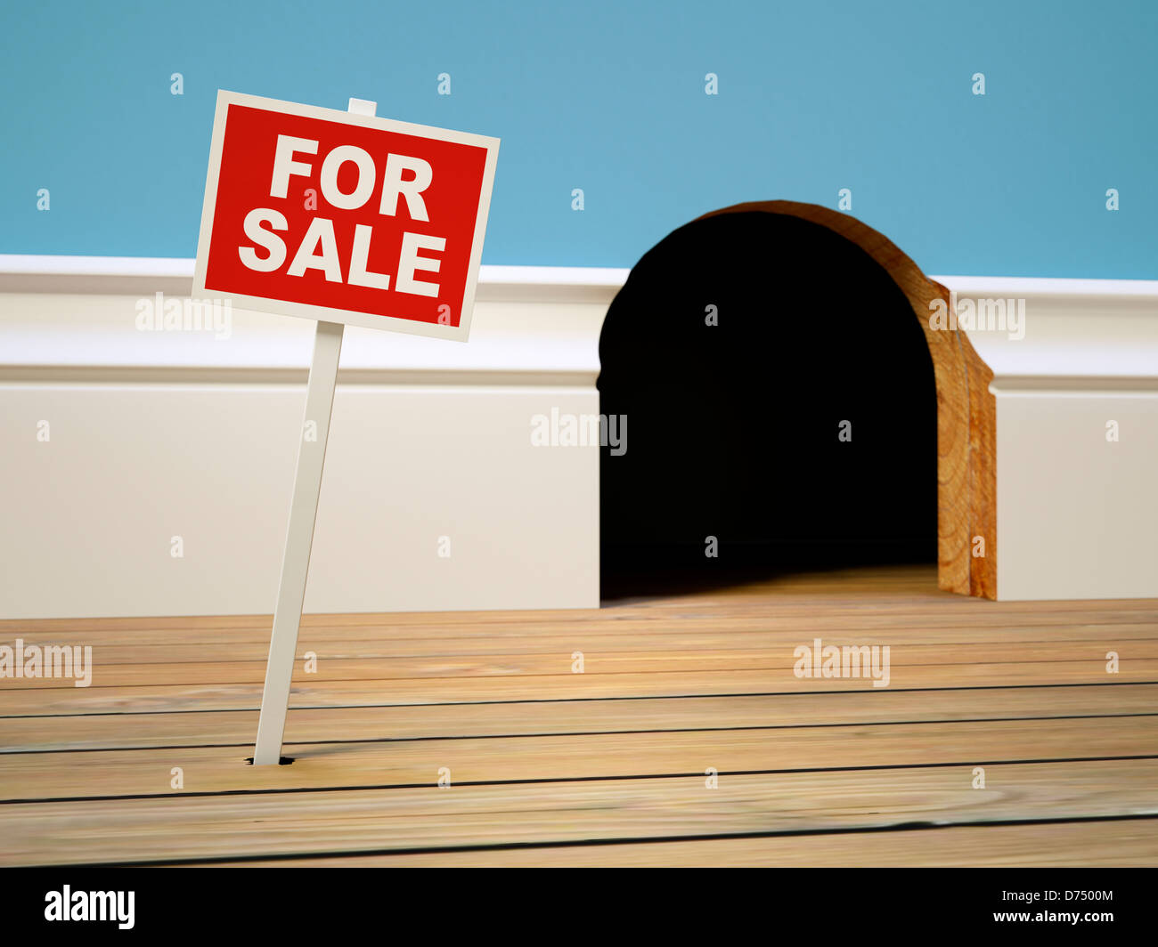 House for sale concept - Mousehole home for sale sign - housing, selling, buying, moving home, moving house, real - Stock Image