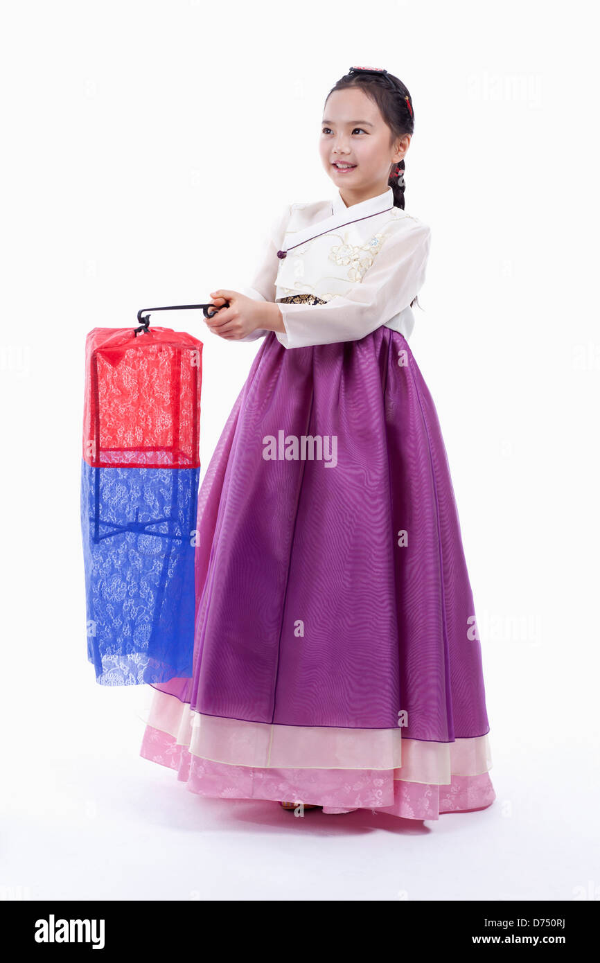 b12587468 a girl in Korean traditional costume holding traditional lamp Stock ...