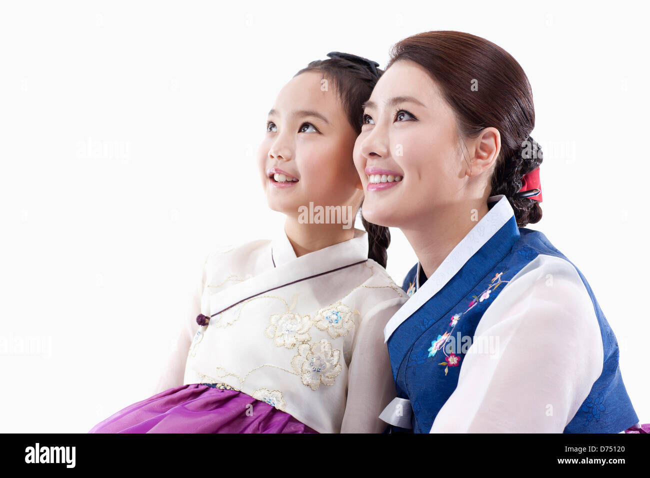 1504ddb7a mother and daughter in Korean traditional costume looking same place -  Stock Image
