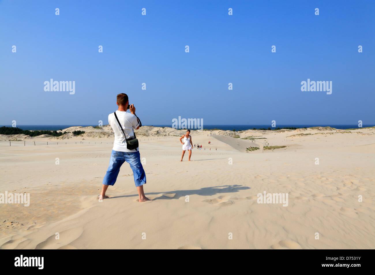 Slowinski National Park, dunes at Leba, baltic sea, Pomerania, Poland - Stock Image