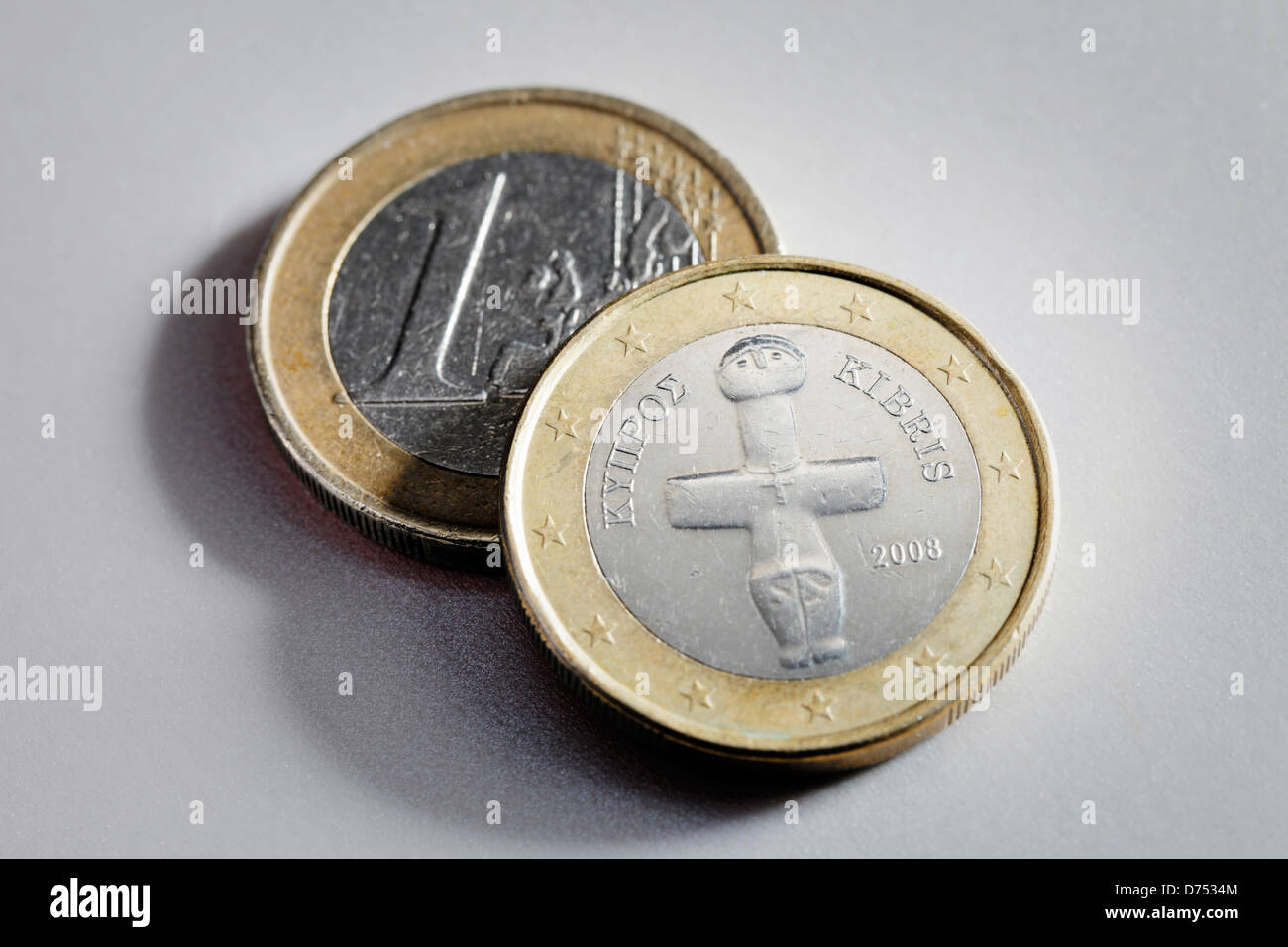 Two 1 Euro coins from Cyprus. - Stock Image