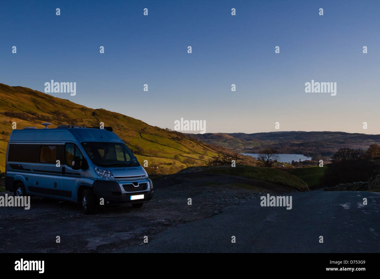 Autocruise Jazz campervan in the Lake District looking over Windermere, UK - Stock Image