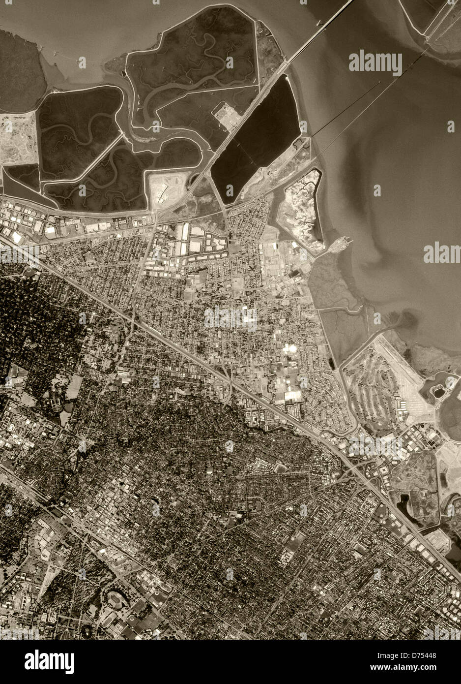 historical aerial photograph Palo Alto, California 1993 - Stock Image