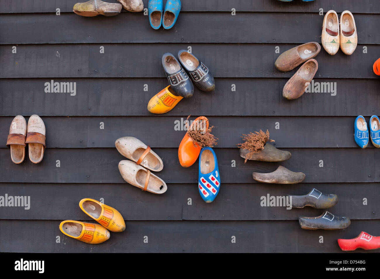 old dutch wooden shoes - Stock Image