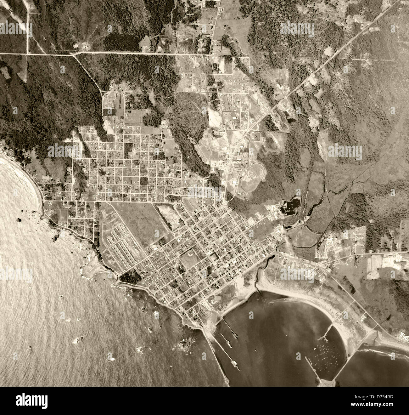 historical aerial photograph Crescent City, California, 1955 - Stock Image