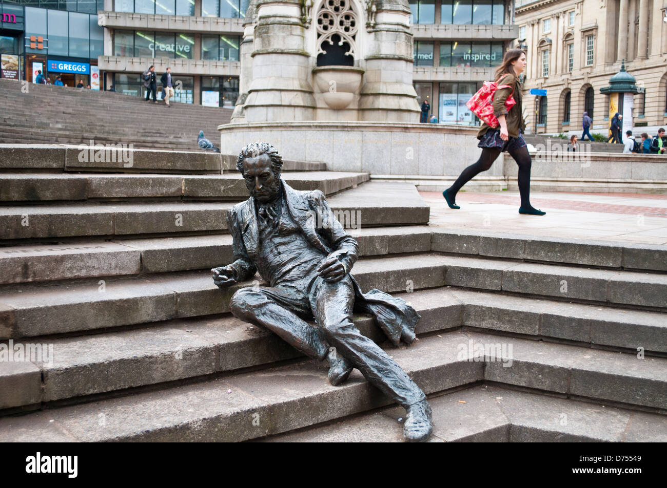 Thomas Attwood bronze sculpture on steps, Chamberlain Square, Birmingham, UK - Stock Image