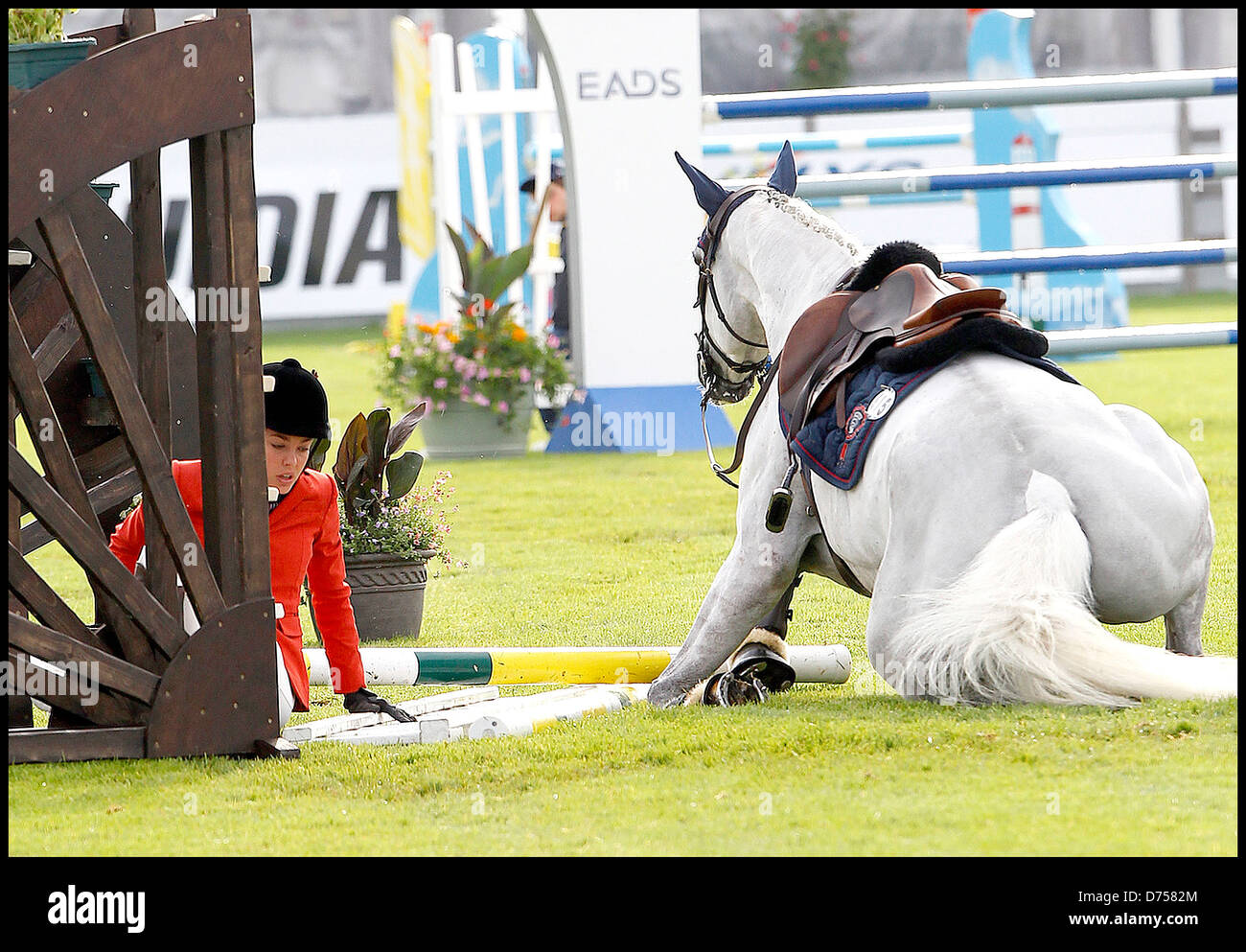 Charlotte Casiraghi Falls Off Her Horse And Her Horse Fails To Jump Stock Photo Alamy