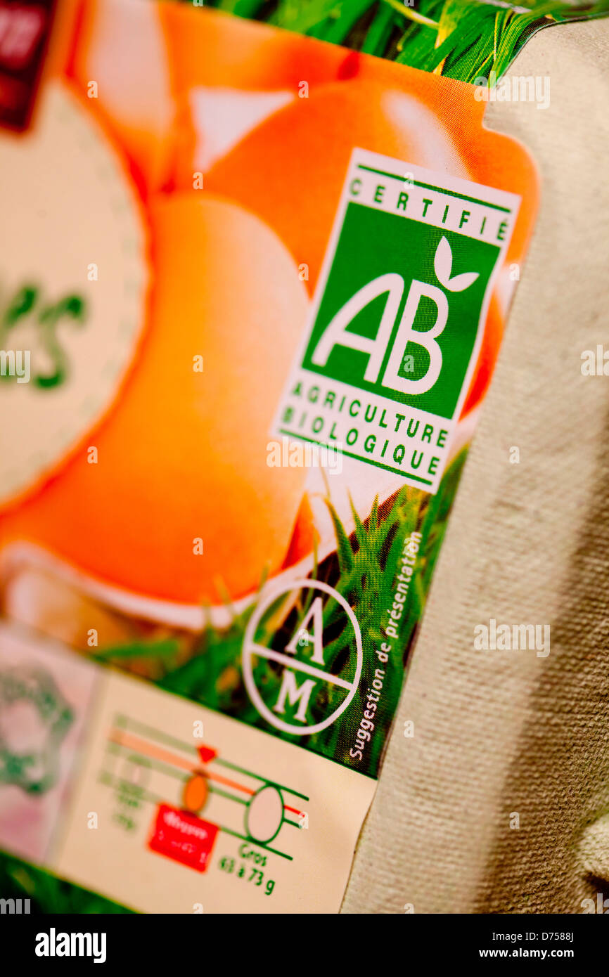 Organic eggs, identified with the AB label. - Stock Image