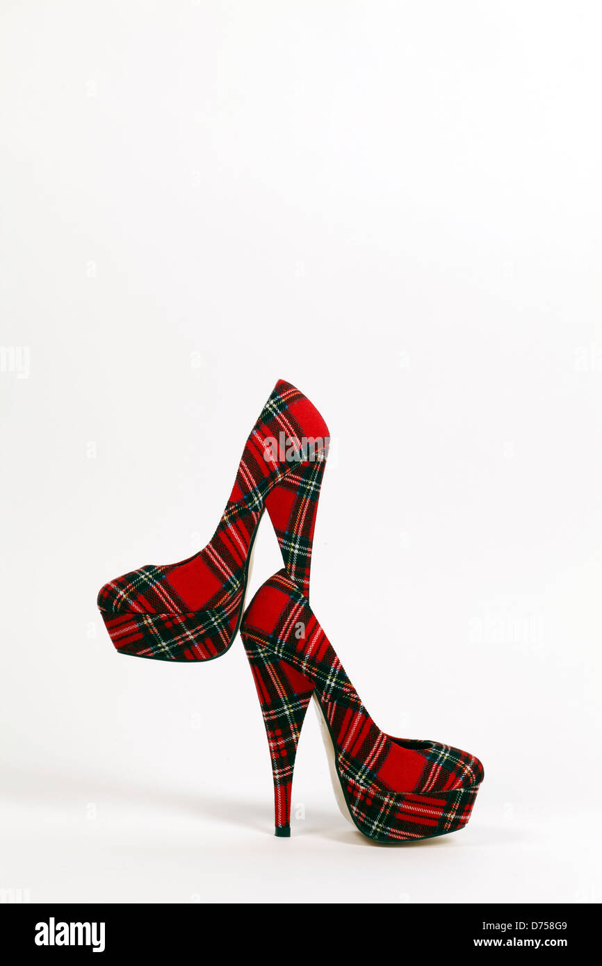 Womens very high heels in Red Plaid tartan material - Stock Image