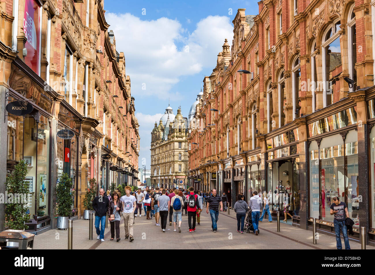 Shops on historic King Edward Street in the Victoria Quarter, Leeds, West Yorkshire, UK - Stock Image