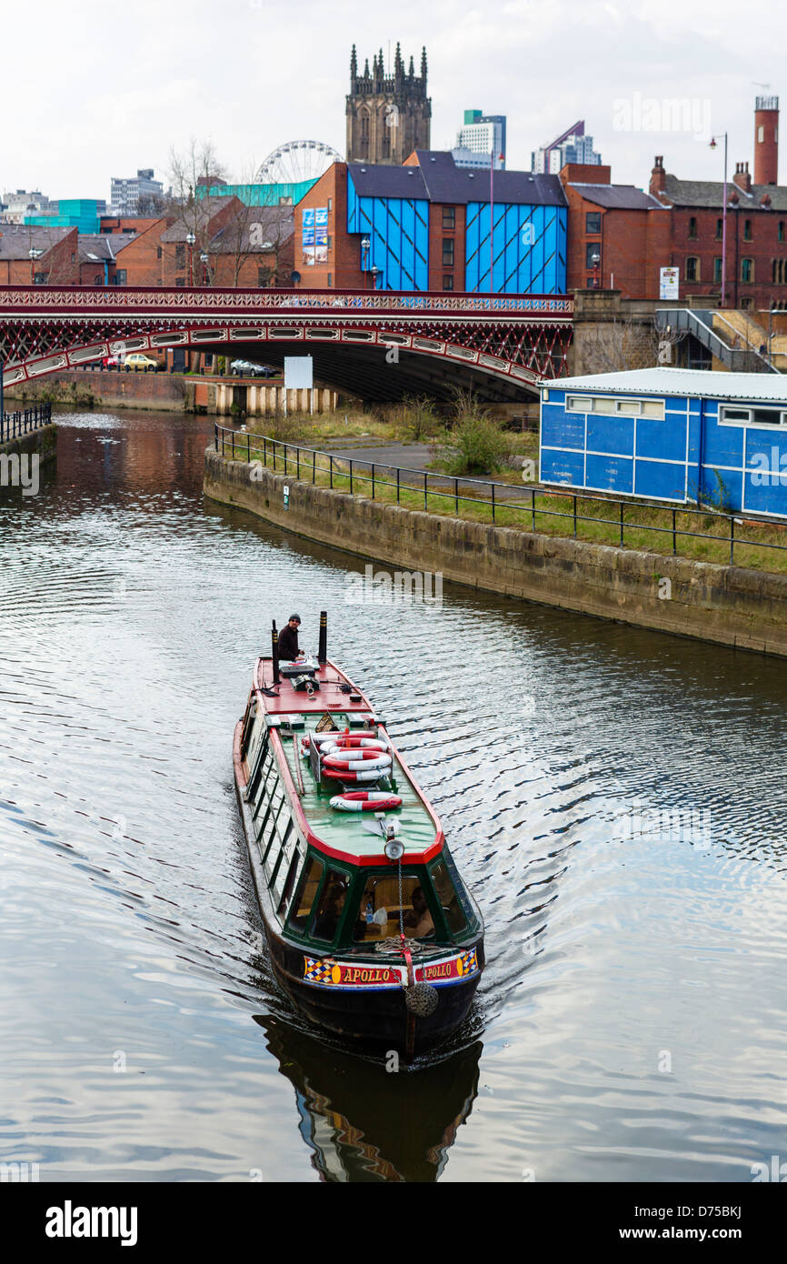 Narrowboat on the River Aire near Clarence Dock, Leeds, West Yorkshire, UK - Stock Image