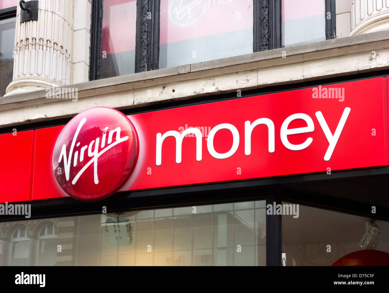 Virgin Money store on Briggate, Leeds, West Yorkshire, UK - Stock Image