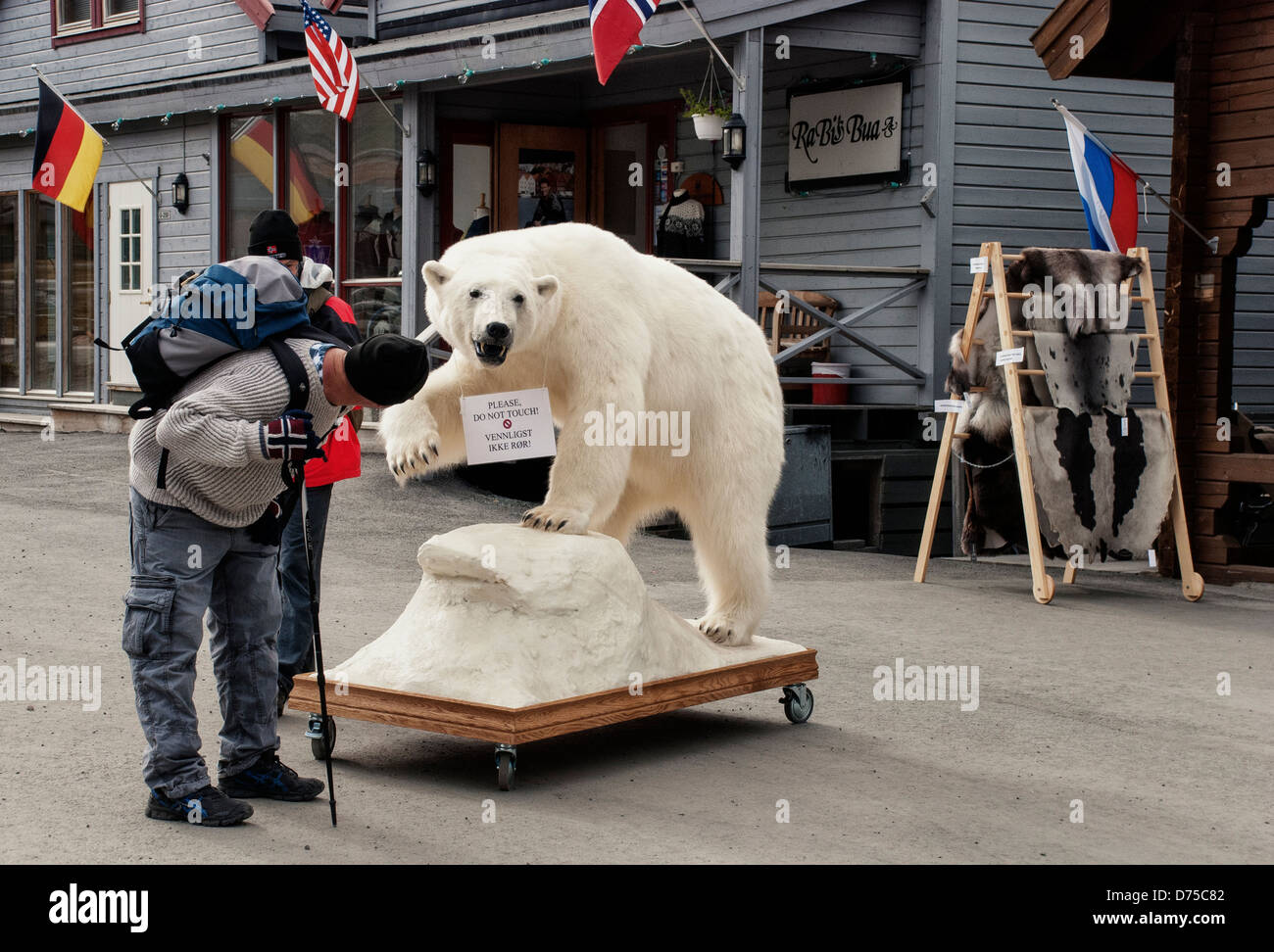 "Tourist looking at ""Please Do Not Touch"" sign on a stuffed polar bear in the shopping district of Longyearbyen, Stock Photo"