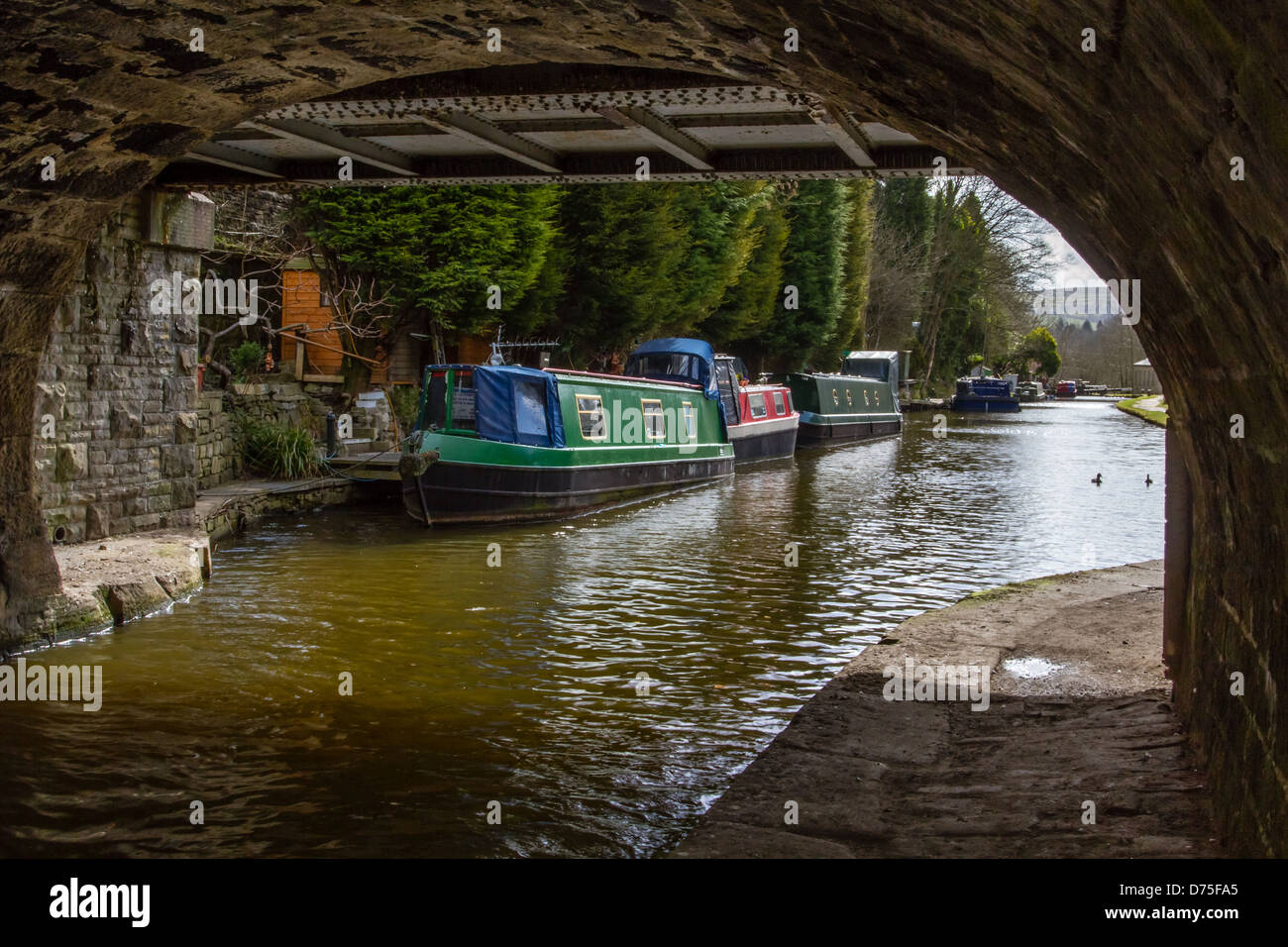Canal boats on the Rochdale Canal - Hebden Bridge - Stock Image