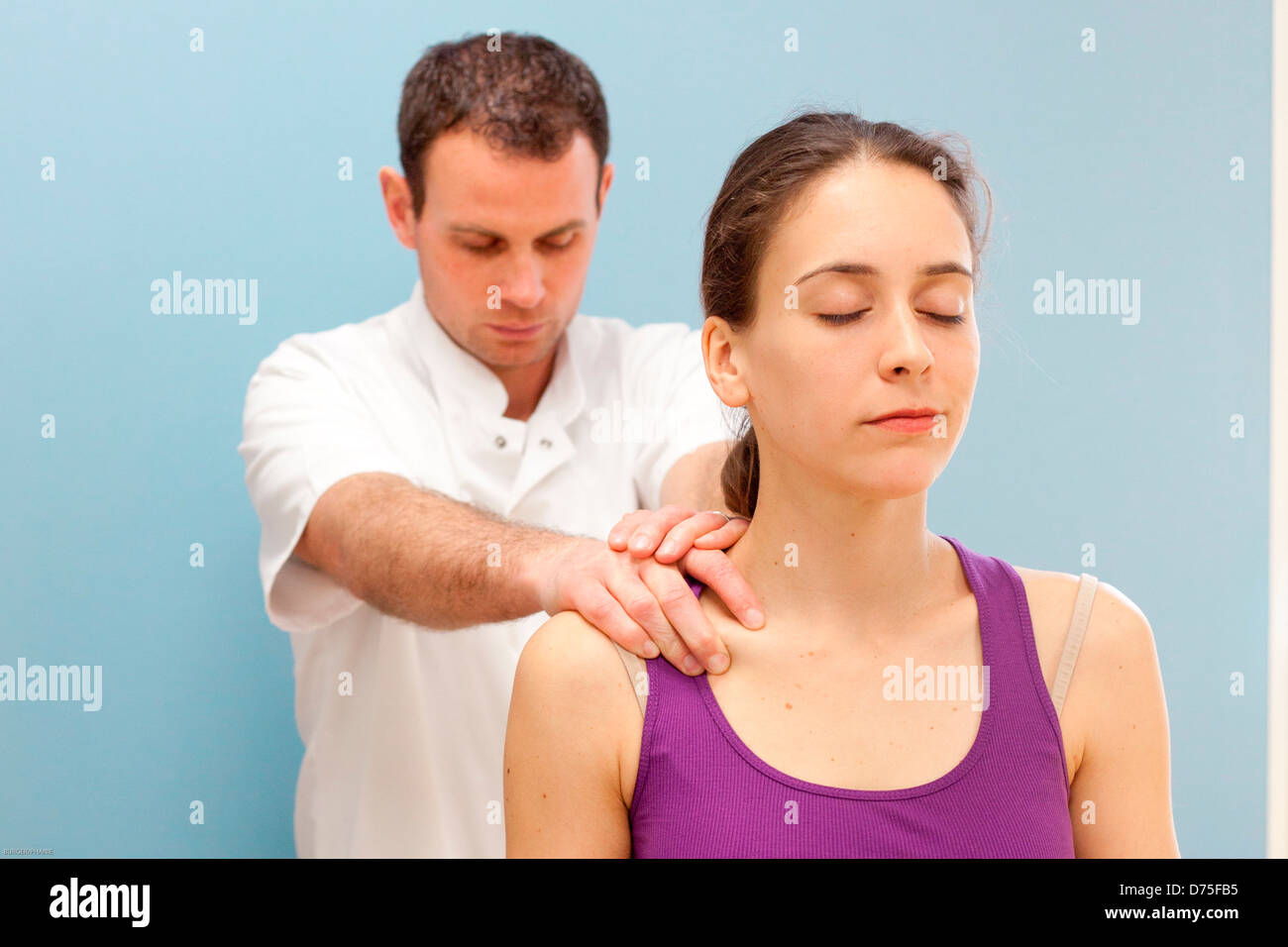 Session of osteopathy tissue. - Stock Image