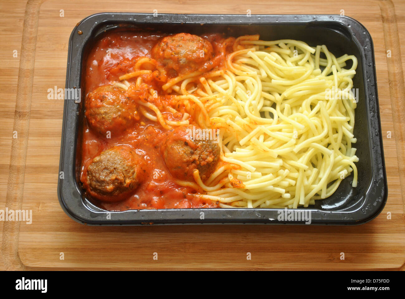 Heated Spaghetti and Meatball TV Dinner - Stock Image