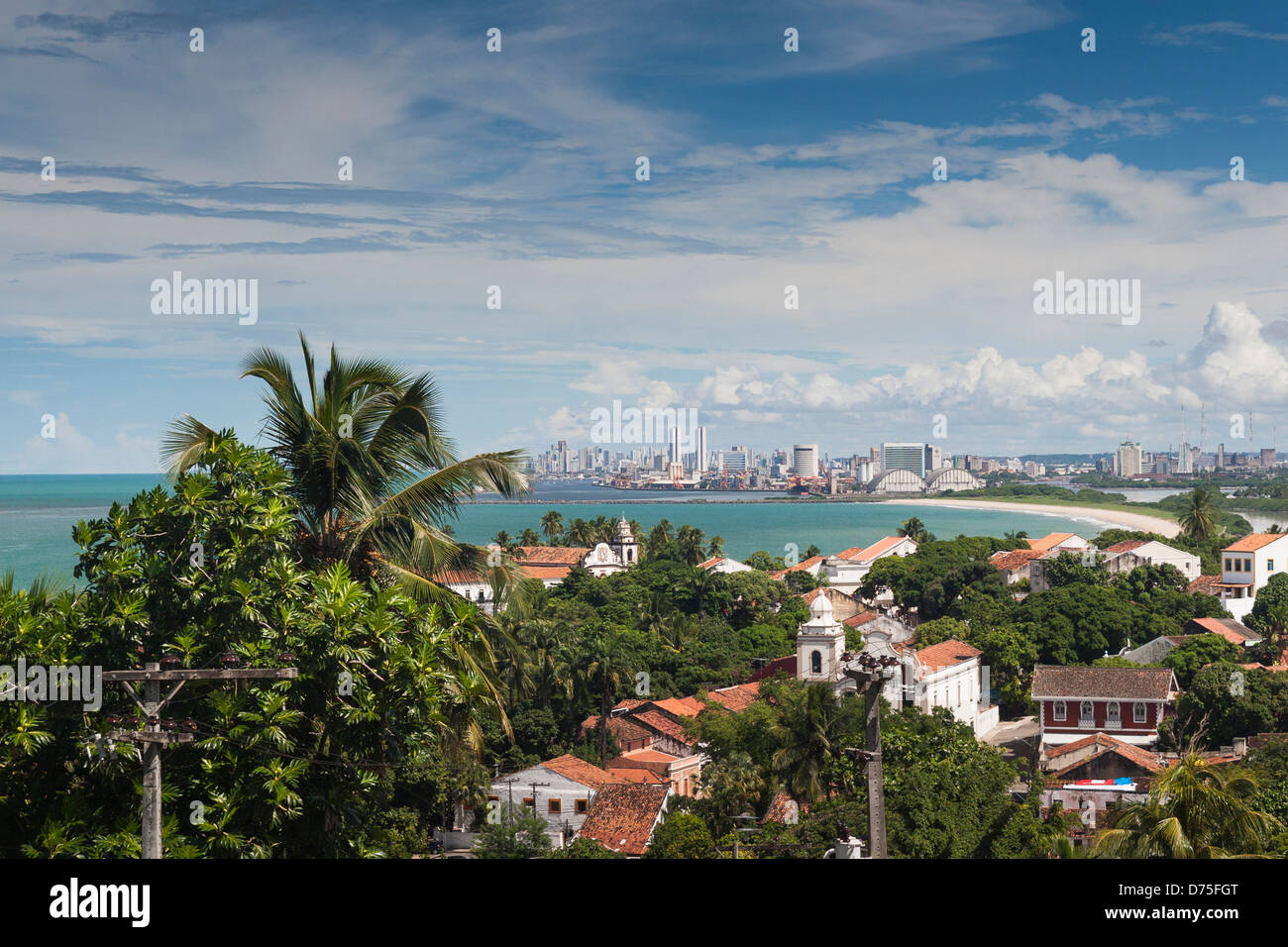 Coast line of Recife from Olinda , Brasil . - Stock Image