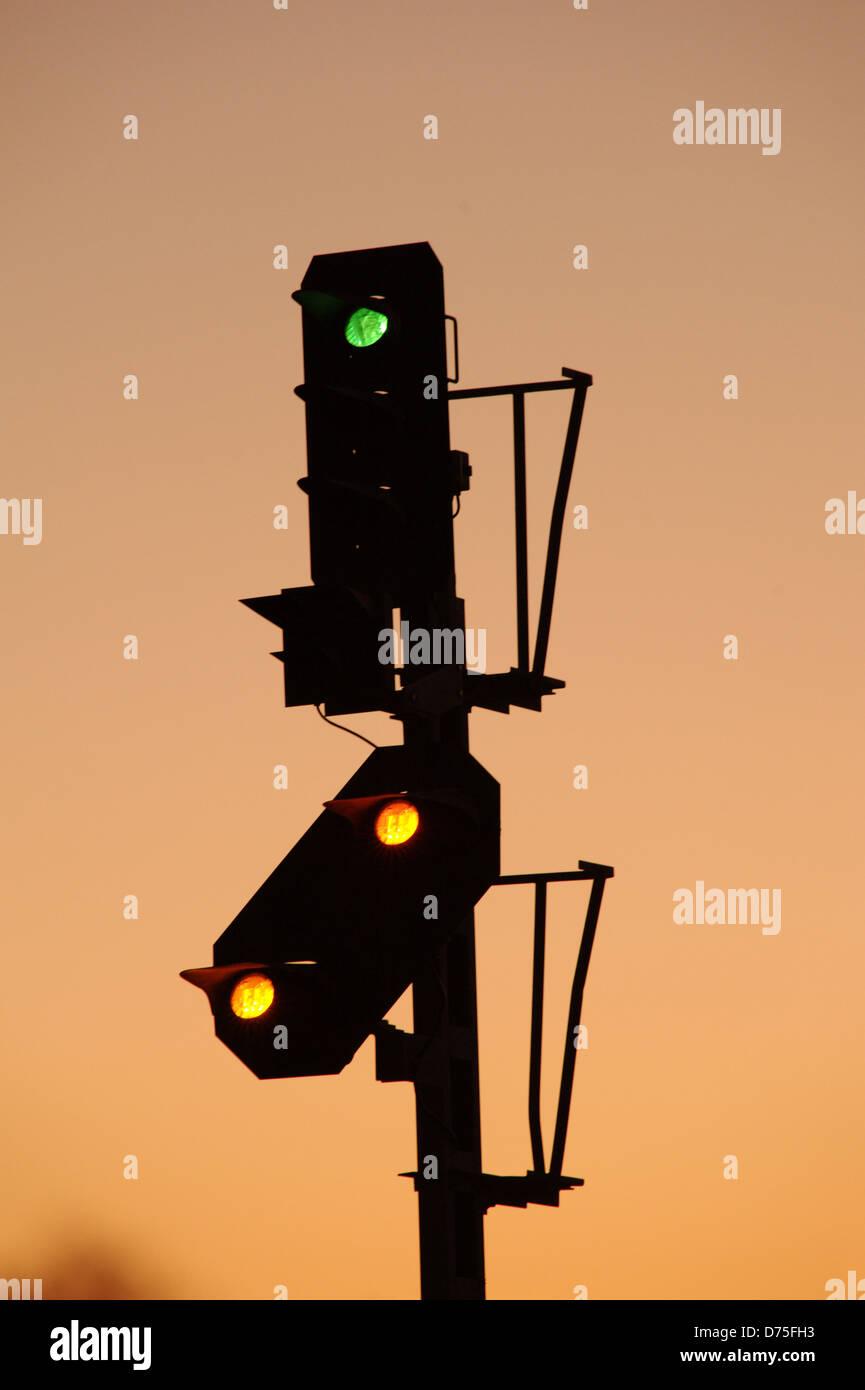 train stoplight, railway robot - Stock Image