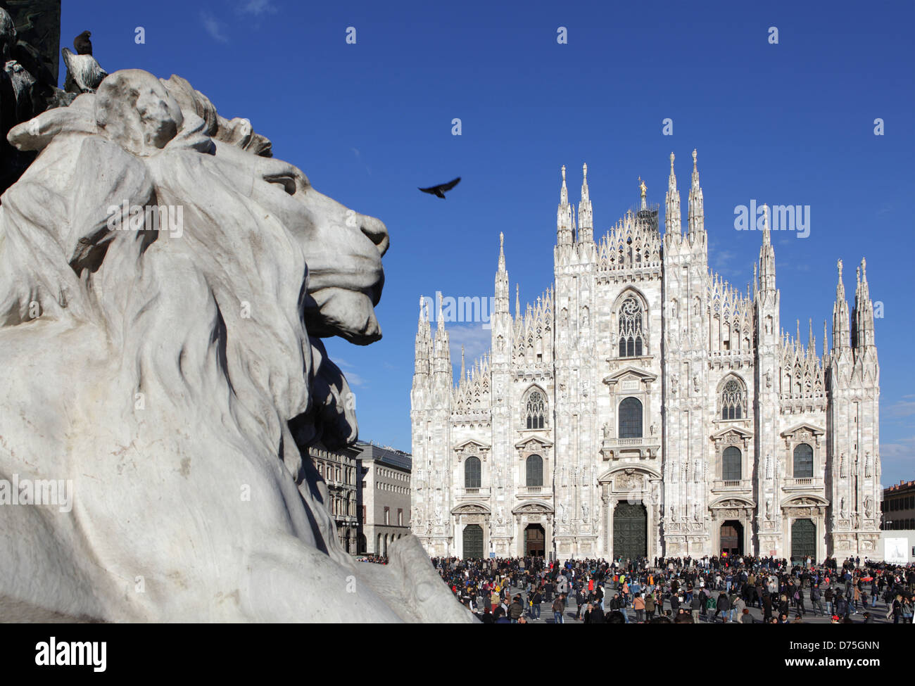 Piazza Duomo and the Cathedral, Milan, Italy - Stock Image