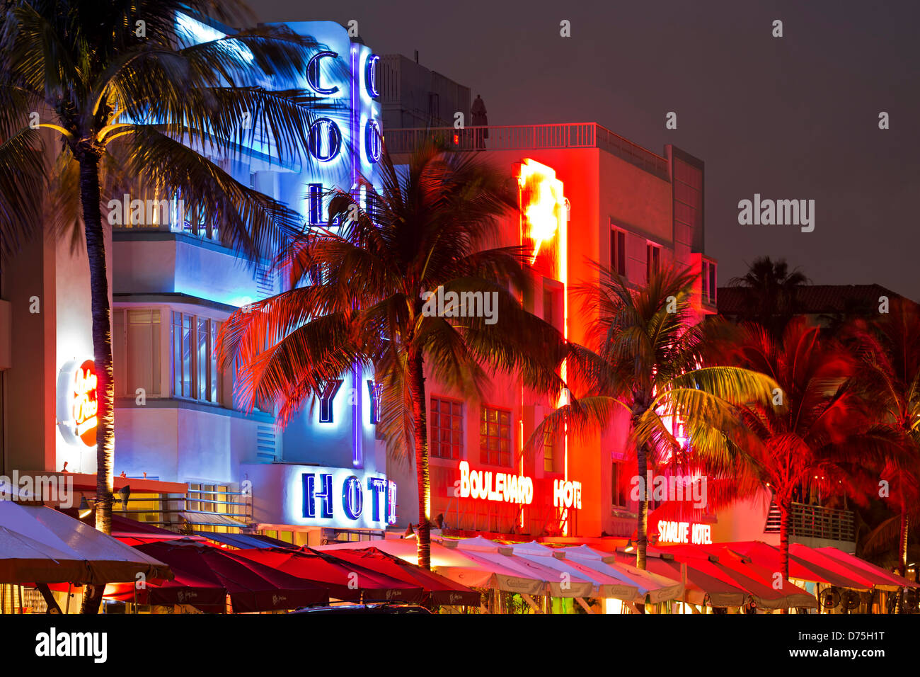 Row of hotels, Colony Hotel, South Beach, Miami Beach, Florida USA - Stock Image