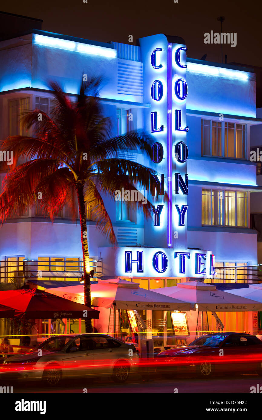 Colony Hotel, South Beach, Miami Beach, Florida USA - Stock Image