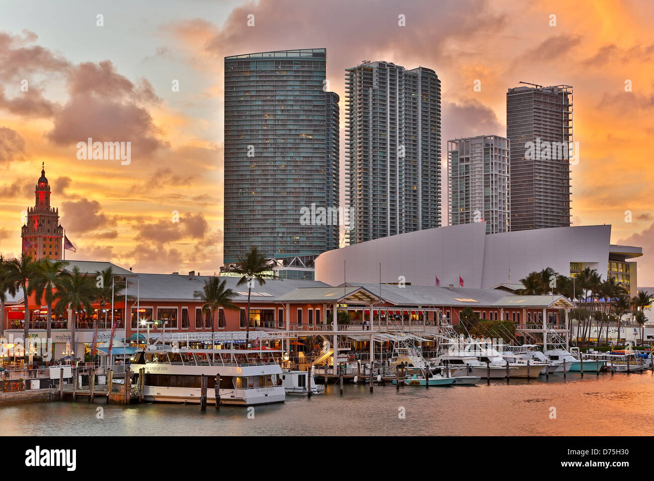 Marina at Bayfront Marketplace and skyscrapers, Miami, Florida USA - Stock Image