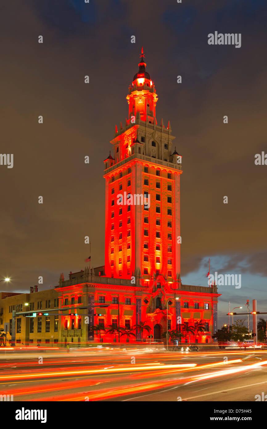 Freedom Tower and light streaks, Miami, Florida USA - Stock Image