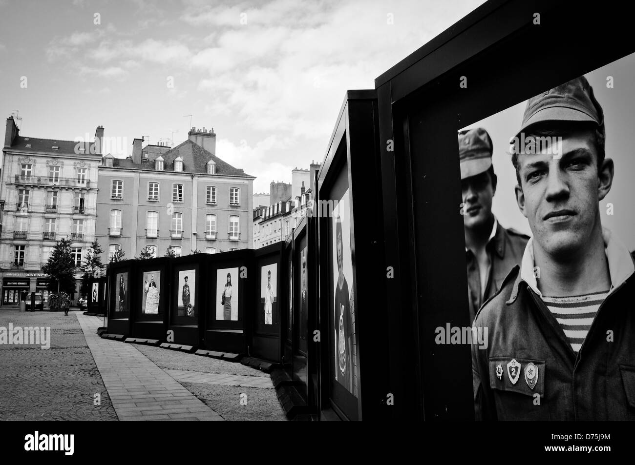 Open air photography exhibition on the main square of Rennes/ France - Stock Image