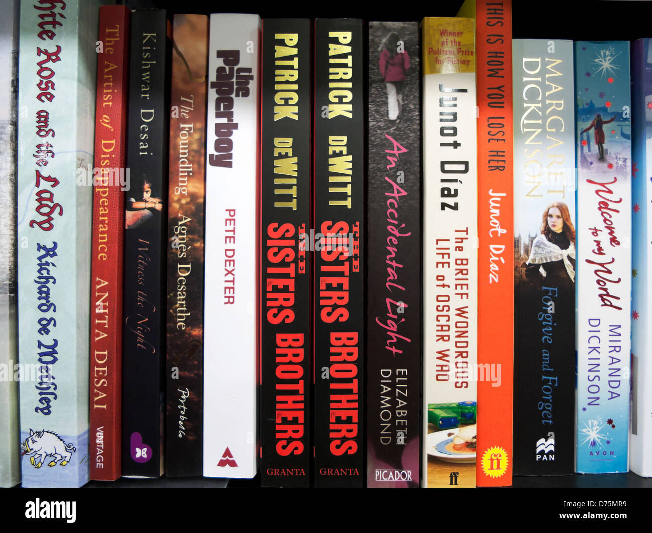 Patrick deWitt book The Sisters Brothers on a book shelf in Waterstones bookstore in London England UK  KATHY DEWITT - Stock Image