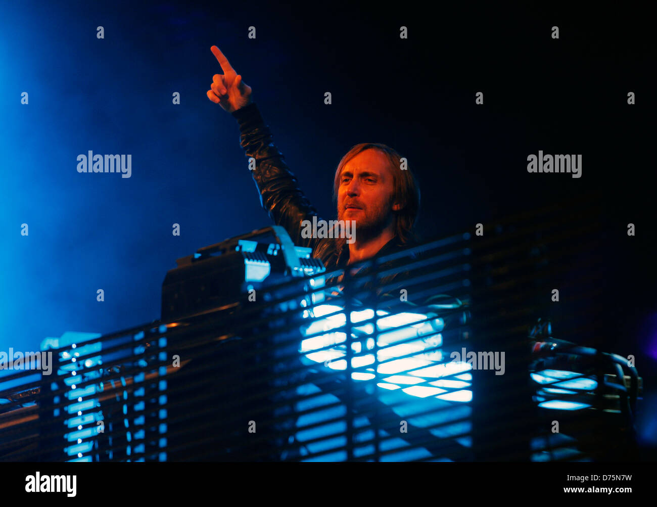 French musician David Guetta performs during a live event in the Spanish Balearic island of Ibiza. - Stock Image