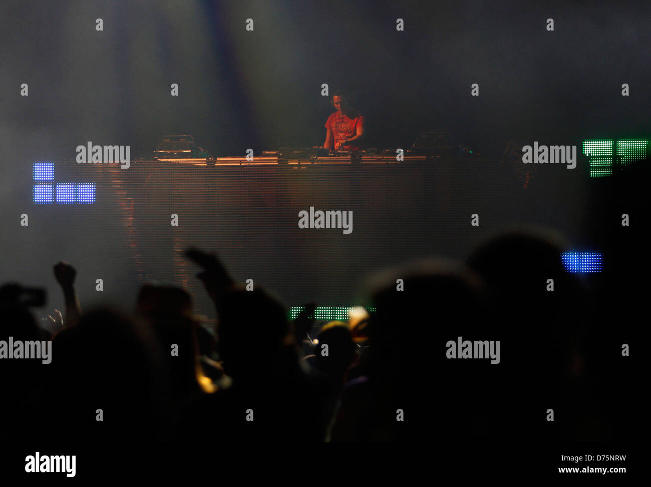 DJ Tiesto performs during a live event in the Spanish Balearic island of Ibiza. - Stock Image