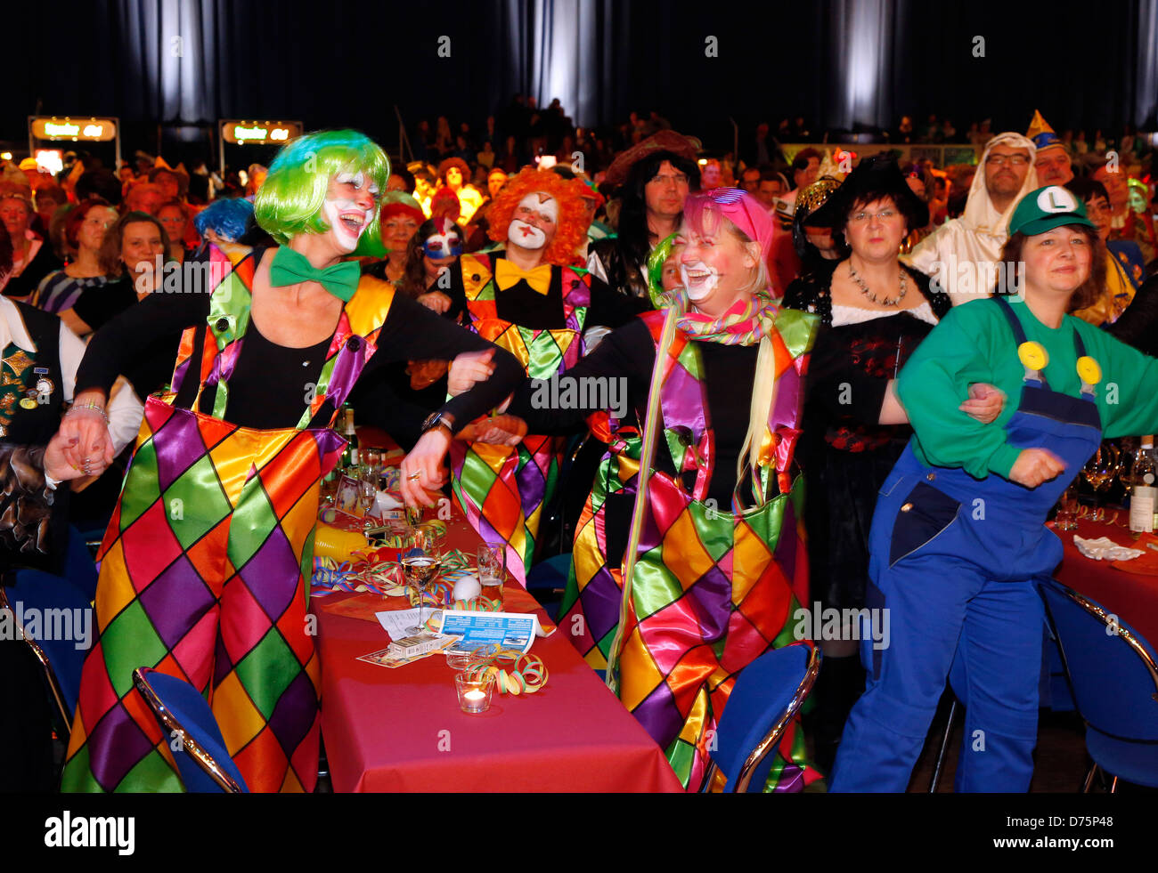 Essen, Germany, in the Ruhr carnival, the audience dancing and celebrations Stock Photo
