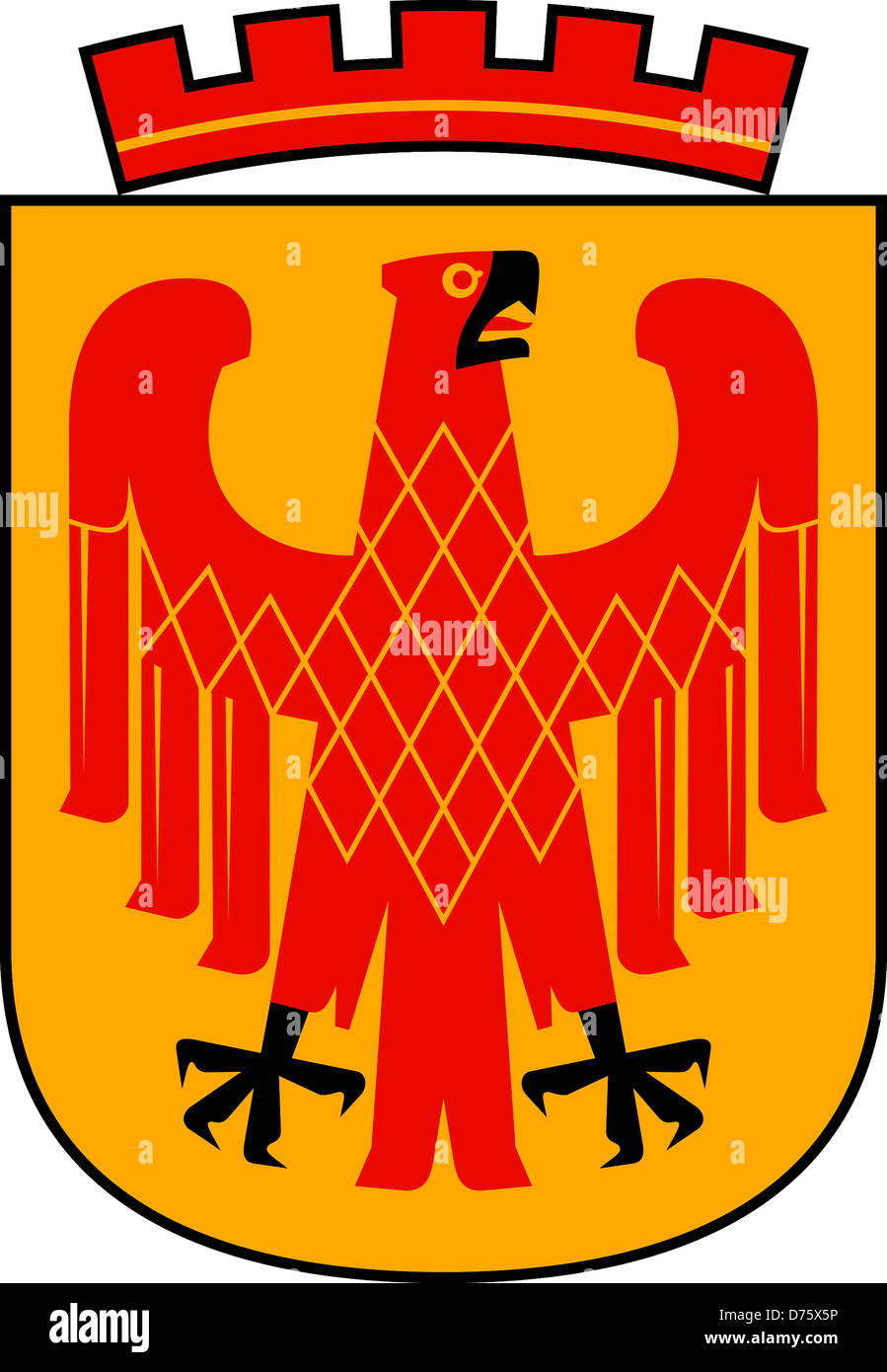 Coat of arms of the Capital city Potsdam of Brandenburg. - Stock Image