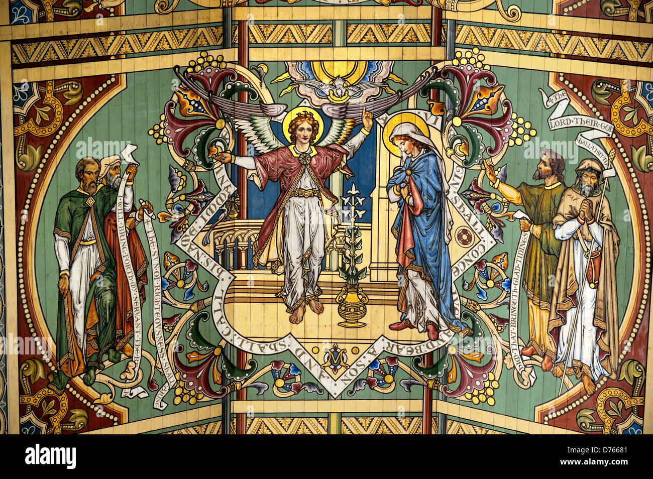 Ely Cathedral, Cambridgeshire, England. Painted Nave ceiling. Panel showing the Annunciation. Angel appears to the - Stock Image