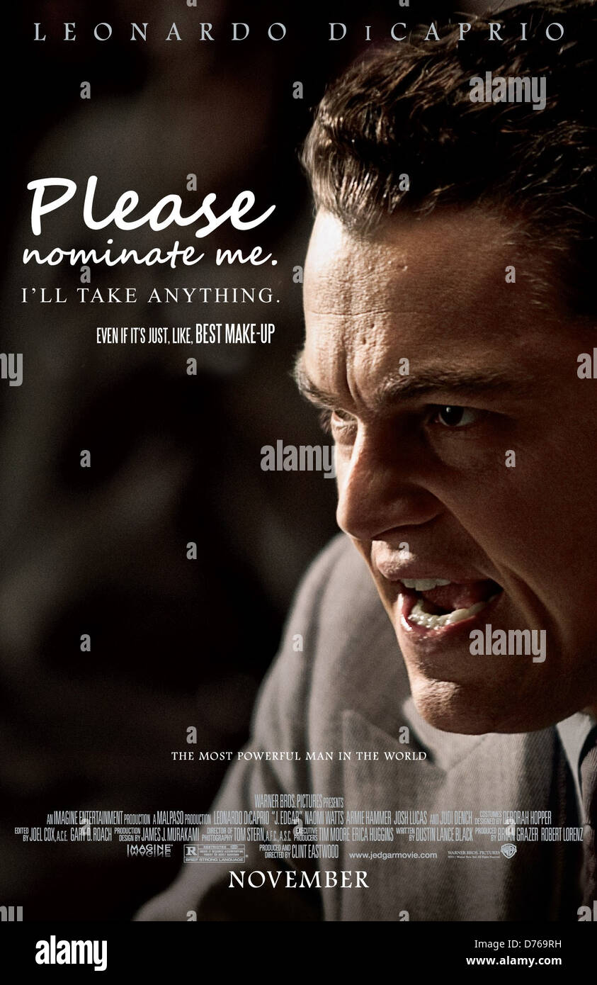 Pictured: J Edgar If the Best Picture nominee posters told the truth..... As the Oscars approach, film fans across - Stock Image