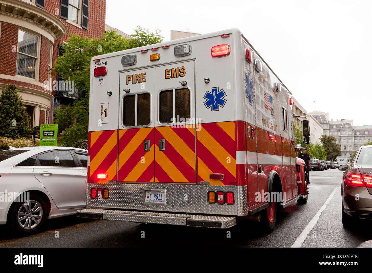 Fire EMS ambulance - Washington, DC USA - Stock Image