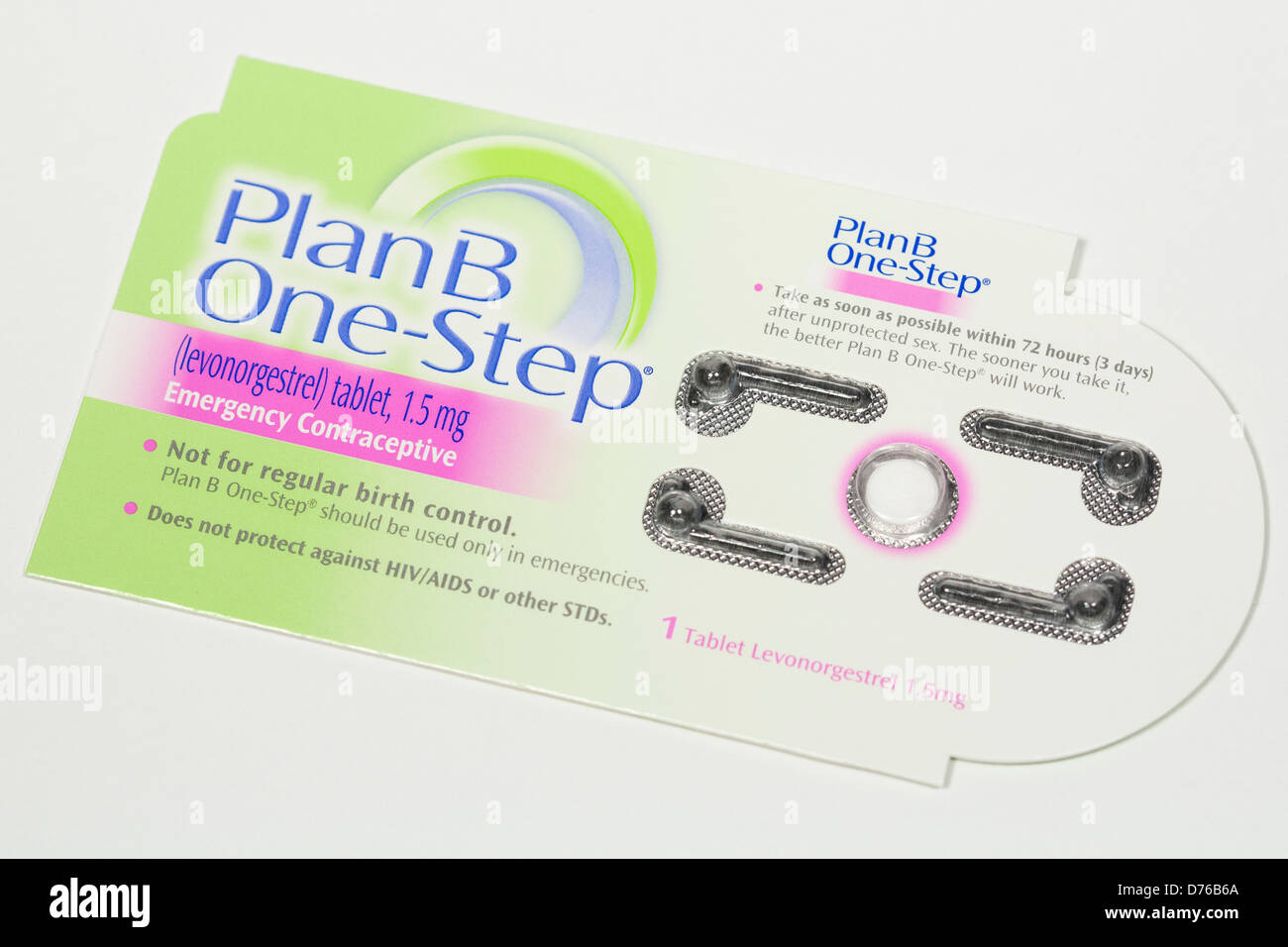 A Plan B (levonorgestrel) emergency contraceptive pill, also known as the 'Morning after pill' - Stock Image